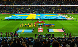 March 23, 2019 - Stockholm, SWEDEN - 190323 Players of Sweden and of Romania during line up ahead of the UEFA Euro Qualifier football match between Sweden and Romania on March 23, 2019 in Stockholm  (Credit Image: © Simon HastegÃ…Rd/Bildbyran via ZUMA Press)