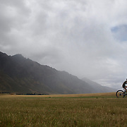 A junior triathlete in action during the Active Q T Ultimate Tri Series Jack's Point Triathlon, Jack's Point,  Queenstown, Otago, New Zealand. 14th January 2012. Photo Tim Clayton