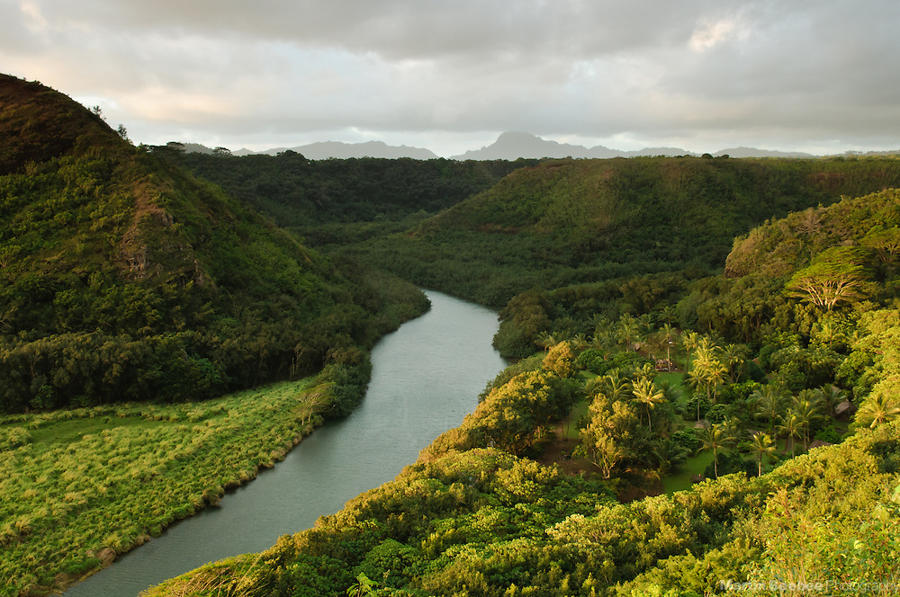 Morning light on the Wailua River, with a view of Haupu in the distance, Kauai, Hawaii