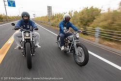 Hiroaki Yoshida (L) riding with Toshihiro Ogasawara on the SureShot ride around Chiba, Japan. Saturday, December 8, 2018. Photography ©2018 Michael Lichter.