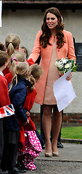 The Duchess of Cambridge leaves Naomi House Children's Hospice to Celebrate Children's Hospice Week, Winchester, Hampshire, UK, Monday 29 April 2013. Photo by: Steve Finn / i-Images