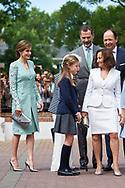 Queen Letizia of Spain, Princess Sofia, Menchu del Valle, Paloma Rocasolano, King Felipe VI of Spain, Konstantin of Bulgary arrived Asuncion de Nuestra Senora Church for the First Communion of Princess Sofia on May 17, 2017 in Aravaca near of Madrid.