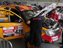 January 5, 2019 - Lima, Lima, Peru - Toyota 428, Ramon Nunez and Fernando Acosta from Argentina, passing the technical scrutineering. The Dakar rally runs this year 100% in Peru. (Credit Image: © Carlos Garcia Granthon/ZUMA Wire)