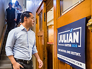 07 MAY 2019 - AMES, IOWA: JULIÁN CASTRO walks into a campaign appearance at Collegiate United Methodist Church in Ames Tuesday. Castro is visiting Iowa to support his candidacy for the Democratic ticket of the US Presidency. Iowa traditionally hosts the the first selection event of the presidential election cycle. The Iowa Caucuses will be on Feb. 3, 2020.                           PHOTO BY JACK KURTZ