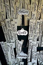 Labels in the potting shed at Audley End