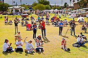 12 JUNE 2010 - PHOENIX, AZ: The afternoon crowd at Bolin Memorial Park near the State Capitol in Phoenix Saturday. About 500 people, many from California and Florida, attended the afternoon rally. PHOTO BY JACK KURTZ