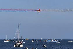 August 9, 2017 - Falmouth, Cornwall, England - Red Arrows display for the first time in Falmouth Bay. Large crowds attended the first red Arrows display in Falmouth Bay. The location was changed from the traditional Carrick roads location because of new safety rules imposed after the Soreham air disaster. (Credit Image: © Mark Hemsworth/London News Pictures via ZUMA Wire)