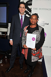 ED MILIBAND MP and DOREEN LAWRENCE at the annual WIE (Women: inspiration and enterprise) Awards held after the WIE Symposium... A day of inspirational talks by thought leaders and opinion formers to give young women the tools to succeed in business and life held at The Hospital Club, Endell Street, London on 8th March 2012.