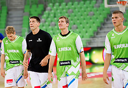Jaka Blazic, Gasper Vidmar, Zoran Dragic and Edo Muric during basketball match between National teams of Slovenia and Bosna and Herzegovina in day 1 of Adecco cup, on August  3, 2012 in Arena Stozice, Ljubljana, Slovenia. (Photo by Vid Ponikvar / Sportida.com)