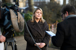 © Licensed to London News Pictures. 20/02/2019. London, UK. Aviation Minister and former Head of Operations at 10 Downing Street, LIZ SUGG is seen in Westminster, London after commenting on plans to extend the no-fly zone for drones around UK airport runways. Drones and similar model aircraft are to be banned from flying within a five kilometre radius of airport runways following events at Gatwick and Heathrow last year Photo credit: Ben Cawthra/LNP