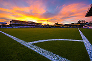 General view of the Memorial Stadium during a spectacular sunset before the EFL Sky Bet League 1 match between Bristol Rovers and AFC Wimbledon at the Memorial Stadium, Bristol, England on 23 October 2018.