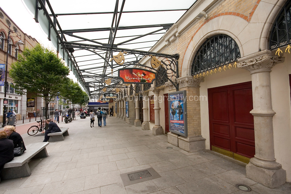 The front of the Gaiety Theatre in Dublin, Ireland, currently showing Riverdance performances