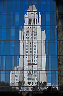 Reflection of LA City Hall.<br /> Images from Los Angeles