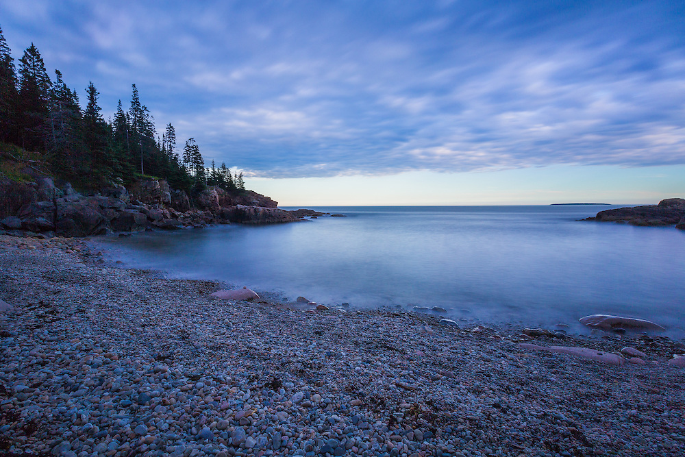 Evening shadows deepen at Little Hunters Beach, Acadia.