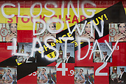 A detail of a shop on Londons Oxford Street, its message reading the business closing down on the last day, on 17th July 2019, in London England.