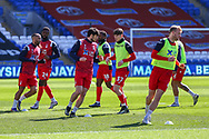 Nottingham Forest players warm up before the EFL Sky Bet Championship match between Cardiff City and Nottingham Forest at the Cardiff City Stadium, Cardiff, Wales on 2 April 2021.