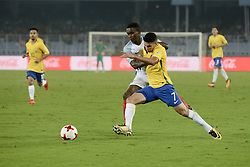 October 25, 2017 - Kolkata, West Bengal, India - Players of England and Brazil in action during the FIFA U 17 World Cup India 2017 Semi Final match on October 25, 2017 in Kolkata. (Credit Image: © Saikat Paul/Pacific Press via ZUMA Wire)