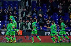 16 th, December  2018, RCDE Stadium, Cornellà, Spain. ..La Liga, partido entre el RCD Espanyol y el Real Betis Balompié...Celebración del gol de Tello (11) de falta en el segundo tiempo, significaba el 1-2 por parte del Betis...El partido ha finalizado (1-3) , con derrota del Espanyol en casa...© Joan Gosa 2018/Xinhua 2018. (Credit Image: © Joan Gosa/Xinhua via ZUMA Wire)