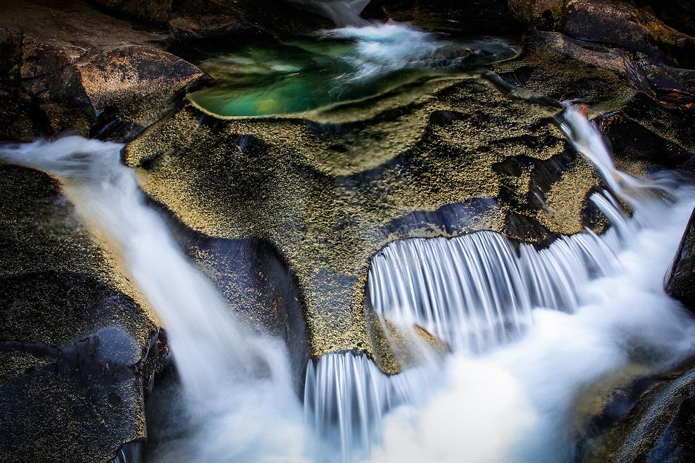 Paradise River cascading over granite rocks in Mt Rainier National Park