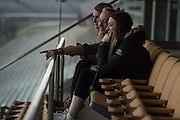 April 1, 2016; Indianapolis, Ind.; Jessica Madison and Alysha Devine share a moment at the Women's Final Four Salute at the Indianapolis Motor Speedway.