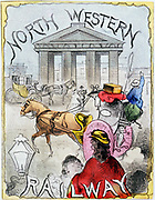 London terminus of the North Western Railway, showing busy scene with people and a Hansom cab in front of Euston Arch. Hand-coloured lithograph from a railway boardgame c1860.