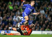 Photo: Tom Dulat.<br /> Chelsea v Shalke 04. Group B, UEFA Champions League. 24/10/2007.<br /> Goalkeeper Manuel Neuer of Shalke 04 manages to stop Joe Cole of Chelsea.