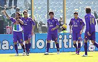 """ESULTANZA ADRIAN MUTU (FIORENTINA) DOPO L'1-0<br /> Firenze 20/03/2011 Stadio """"Artemio Franchi""""<br /> Campionato Italiano Serie A 2010/2011<br /> Fiorentina vs Roma<br /> Foto Luca Pagliaricci Insidefoto"""