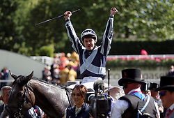 Jockey Colm O'Donoghue celebrates winning the Coronation Stakes on Alpha Centauri during day four of Royal Ascot at Ascot Racecourse.