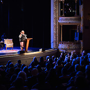 Celebrity chef and author Mario Batali speaks during a Writers on a New England Stage show at The Music Hall in Portsmouth, NH