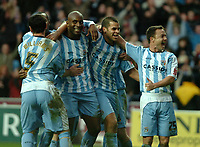 Photo: Ed Godden.<br />Coventry City v Derby County. Coca Cola Championship. 21/01/2006. <br />L-R, Coventry's Ady Williams, Stern John, Dele Adebola (goal scorer), Marcus Hall and Dennis Wise celebrate.