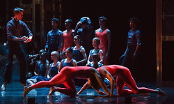 "© Licensed to London News Pictures. 12/05/2015. London, England. At the front Pierre Tappon and Luke Ahmet. Rambert Dance Company perform the World Premiere of ""Dark Arteries"" by Mark Baldwin as part of a triple bill at Sadler's Wells Theatre. Rambert perform with the Tredegar Town Band and the Rambert Orchestra from 12 to 16 May 2015. Photo credit: Bettina Strenske/LNP"