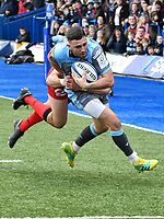 Rugby Union - 2018 / 2019 European Rugby Champions Cup - Pool Three: Cardiff Blues vs. Lyon<br /> <br /> Aled Summerhill; of Cardiff Blues: breaks to score, at Cardiff Arms Park.<br /> <br /> COLORSPORT/WINSTON BYNORTH