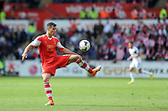 Dejan Lovren of Southampton in action. Barclays Premier league match, Swansea city v Southampton at the Liberty stadium in Swansea, South Wales on Saturday 3rd May 2014.<br /> pic by Andrew Orchard, Andrew Orchard sports photography.