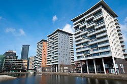 Modern office and apartment buildings in The Hague , The Netherlands