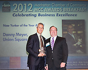 Manhattan Chamber of Commerce's 2012 Awards Breakfast celebrated business excellence by recognizing outstanding leaders. New Yorker of the Year Award winner Danny Meyer, Union Square Hospitality Group (l) with Joseph F. Kirk, Wells Fargo (r). The awards were presented by Well Fargo and hosted at Con Edison's Conference Center on January 31, 2013.