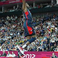 10 August 2012: USA Kevin Durant goes for the dunk during 109-80 Team USA victory over Team Argentina, during the men's basketball semi-finals, at the North Greenwich Arena, in London, Great Britain.