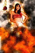 Digitally enhanced image of a young sexy Asian woman with flames and smoke