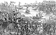 Saint Louis (Louis IX of France) on his first (the Sixth) crusade disembarking of Damietta (Nile Delta) which he captured in 1249. Saracen army at top right. Woodcut from 'Grand voyage de Hierusalem' 1522.
