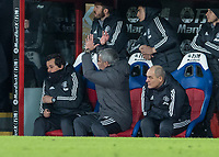 Football - 2017 / 2018 Premier League - Crystal Palace vs. Manchester United<br /> <br /> Jose Mourinho, Manager of Manchester United, shows his frustartion as assistant Rui Faria moves away at Selhurst Park.<br /> <br /> COLORSPORT/DANIEL BEARHAM