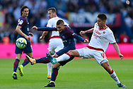 Paris Saint Germain's Italian midfielder Marco Verratti kicks the ball during the French Championship Ligue 1 football match between Paris Saint-Germain and Girondins de Bordeaux on September 30, 2017 at the Parc des Princes stadium in Paris, France - Photo Benjamin Cremel / ProSportsImages / DPPI