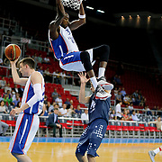 Anadolu Efes's Stephane Lasme (C) during their Turkish Basketball League Play Off round 3 match Anadolu Efes between Turk Telekom at Abdi Ipekci Arena in Istanbul Turkey on Tuesday 26 May 2015. Photo by Aykut AKICI/TURKPIX