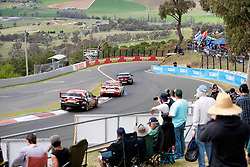October 7, 2018 - Bathurst, NSW, U.S. - BATHURST, NSW - OCTOBER 07: David Reynolds / Luke Youlden in the Erebus Penrite Racing Holden Commodore Scott McLaughlin / Alexandre Premat in the Shell V-Power Racing Team Ford Falcon and Chaz Mostert / James Moffat go down the hill in the Supercheap Auto Racing Ford Falcon at the Supercheap Auto Bathurst 1000 V8 Supercar Race at Mount Panorama Circuit in Bathurst, Australia. (Photo by Speed Media/Icon Sportswire) (Credit Image: © Speed Media/Icon SMI via ZUMA Press)