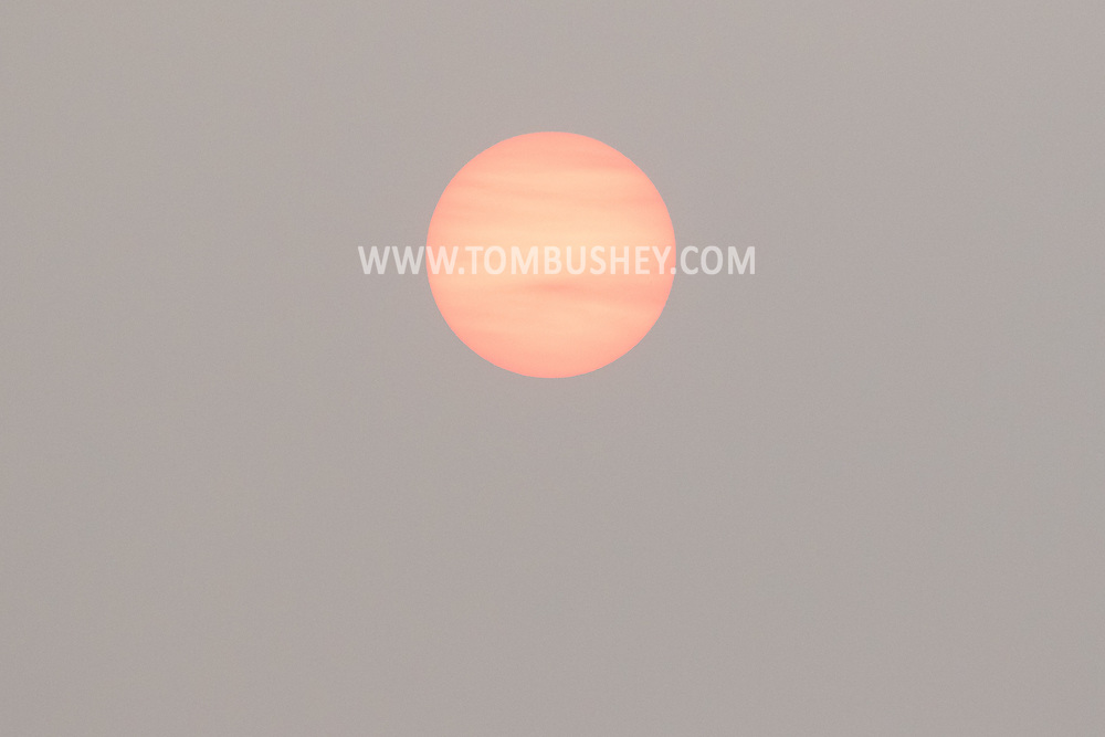 Sunset seen through smoke from Western wildfire in MIddletown, N.Y.,  on July 20, 2021.