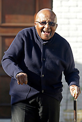 Monday 6th May 2019.<br /> Tutu Residence, Milnerton,<br /> Cape Town, Western Cape, <br /> South Africa.<br /> <br /> DESMOND TUTU VOTES AT HOME IN SOUTH AFRICAN ELECTIONS 2019!<br /> <br /> ARCHBISHOP EMERITUS DESMOND TUTU VOTES AT HOME IN SOUTH AFRICAN ELECTIONS 2019! <br /> <br /> Nobel Peace Prize Laureate Archbishop Emeritus Desmond Tutu greets the media contingent gathered outside his home shortly after placing his vote assisted by IEC (Independent Electoral Commission) officials on a special voting day ahead of the South African National Elections officially being held  on Wednesday 8th May 2019. The 'Arch' as he is affectionally known walked a short distance down the driveway with his walking stick along with others assisting him and waved warmly at the South African Media before going back inside his home in Milnerton near Cape Town, Western Cape, South Africa on Monday 6th May 2019. <br />  <br /> Copyright © Mark Wessels. All Rights Reserved. No Usage Without Permission.<br /> <br /> PICTURE: MARK WESSELS. 06/05/2019.<br /> +27 (0)61 547 2729.<br /> mark@sevenbang.com<br /> studioseven@mweb.co.za<br /> www.markwesselsphoto.com