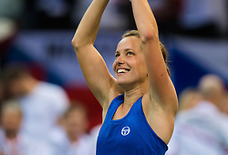 November 10, 2018 - Prague, Czech Republic - Barbora Strycova of the Czech Republic in action at the 2018 Fed Cup Final between the Czech Republic and the United States of America (Credit Image: © AFP7 via ZUMA Wire)