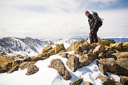 Nathan Kurz stands on the ridge to Grizzly Peak near Loveland Pass, Rocky Mountains, Colorado.