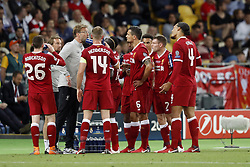 (L-R) Andy Robertson of Liverpool FC, coach Jurgen Klopp of Liverpool FC, Jordan Henderson of Liverpool FC, Dejan Lovren of Liverpool FC, Trent Alexander-Arnold of Liverpool FC, James Milner of Liverpool FC, Virgil van Dijk of Liverpool FC during the UEFA Champions League final between Real Madrid and Liverpool on May 26, 2018 at NSC Olimpiyskiy Stadium in Kyiv, Ukraine
