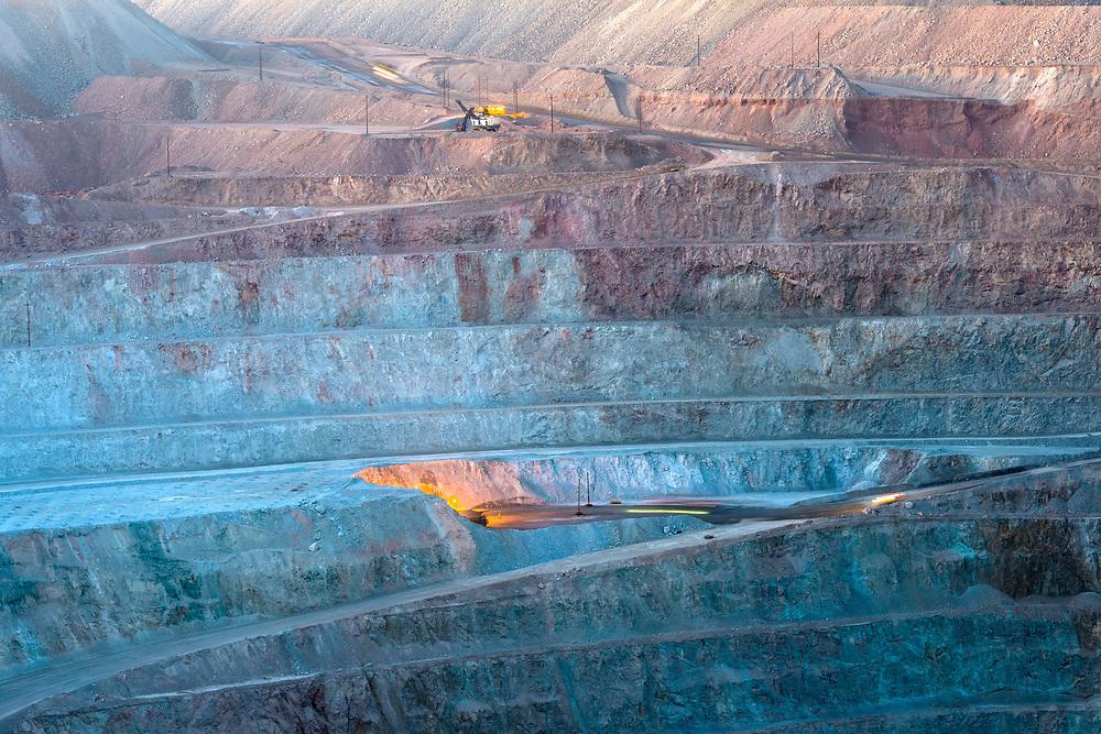 Close-up of an open-pit copper mine in Peru.