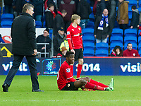Football - 2013 / 2014 FA Cup - Fifth Round: Cardiff City vs. Wigan Athletic<br /> <br />  Cardiff manager Ole Gunnar Solskjaer approaches a dejected looking Wilfried Zaha of Cardiff as cardiff lose at the Cardiff City Stadium<br /> <br /> COLORSPORT/WINSTON BYNORTH