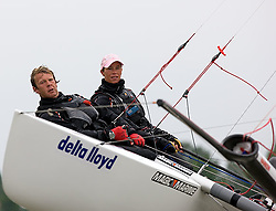 08_004265 © Sander van der Borch. Medemblik - The Netherlands,  May 25th 2008 . Sebbe Godefroid and Carolijn Brouwer sailing just after the finish of the medal race of the Delta Lloyd Regatta 2008.